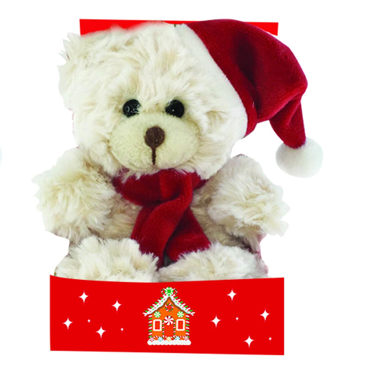 Peluche design \'Teddy Bear\' beige bonnet rouge - 15 cm - [Q3912]