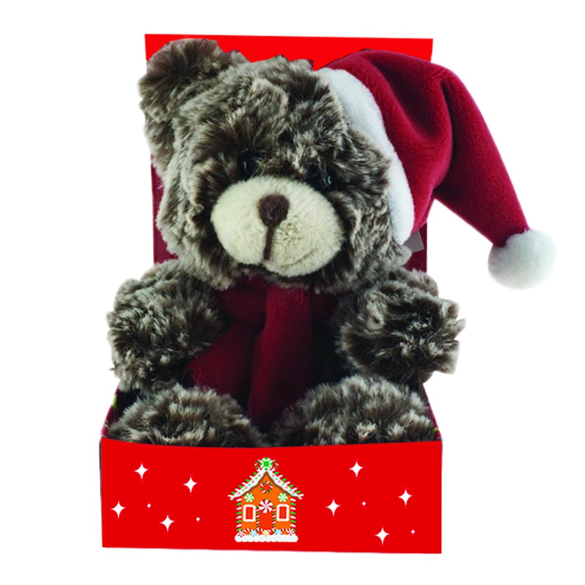 Peluche design \'Teddy Bear\' marron bonnet rouge - 15 cm - [Q3913]