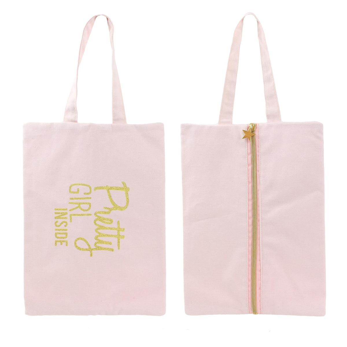 Pochette plate coton \'Messages\' rose (Pretty girl inside) - 30x21 cm - [Q3925]