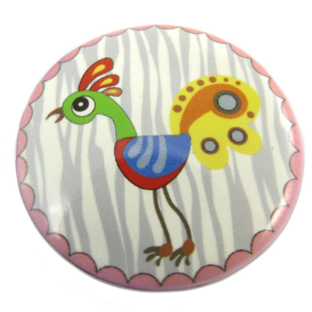Broche créateur \'Lilipoupettes\' gris multicolore - 40 mm - [P7415]