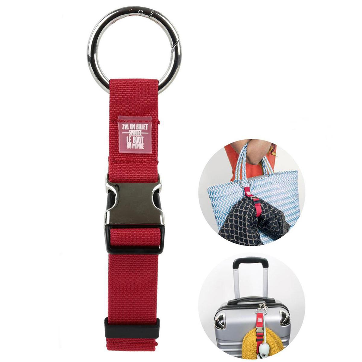 Accroche sac \'Messages\' rouge (J\'ai un billet pour le bout du monde)  - [Q3935]