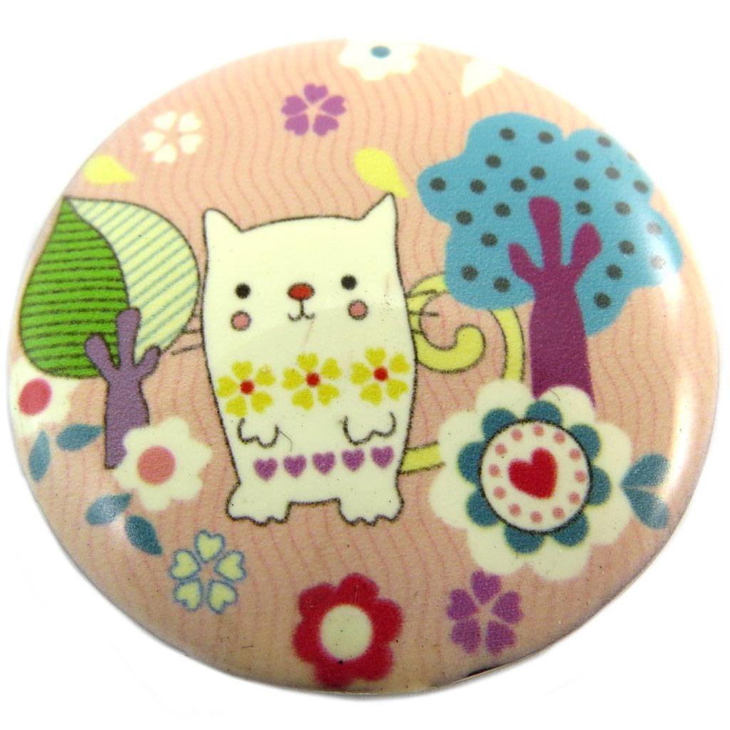 Broche créateur \'Lilipoupettes\' (chat) rose multicolore - 40 mm - [P7416]
