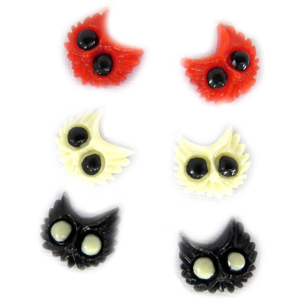 3 paires de boucles \'Chats\' rouge noir ivoire - [L6425]