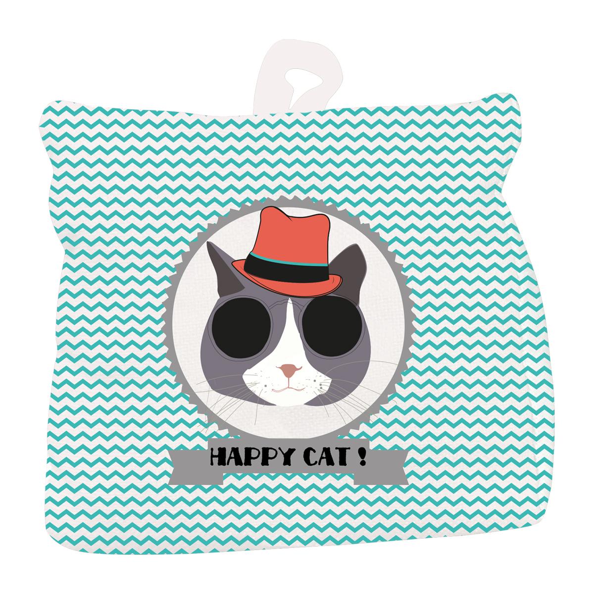 Cale porte coton \'Happy Cat\' turquoise (chapeau) - 18x18 cm - [Q4017]