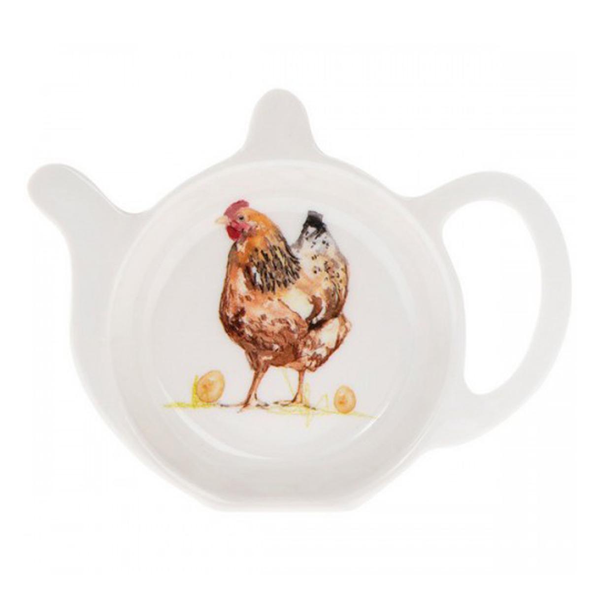 Repose sachets \'Poule\' marron blanc - 12x98 cm - [Q4092]