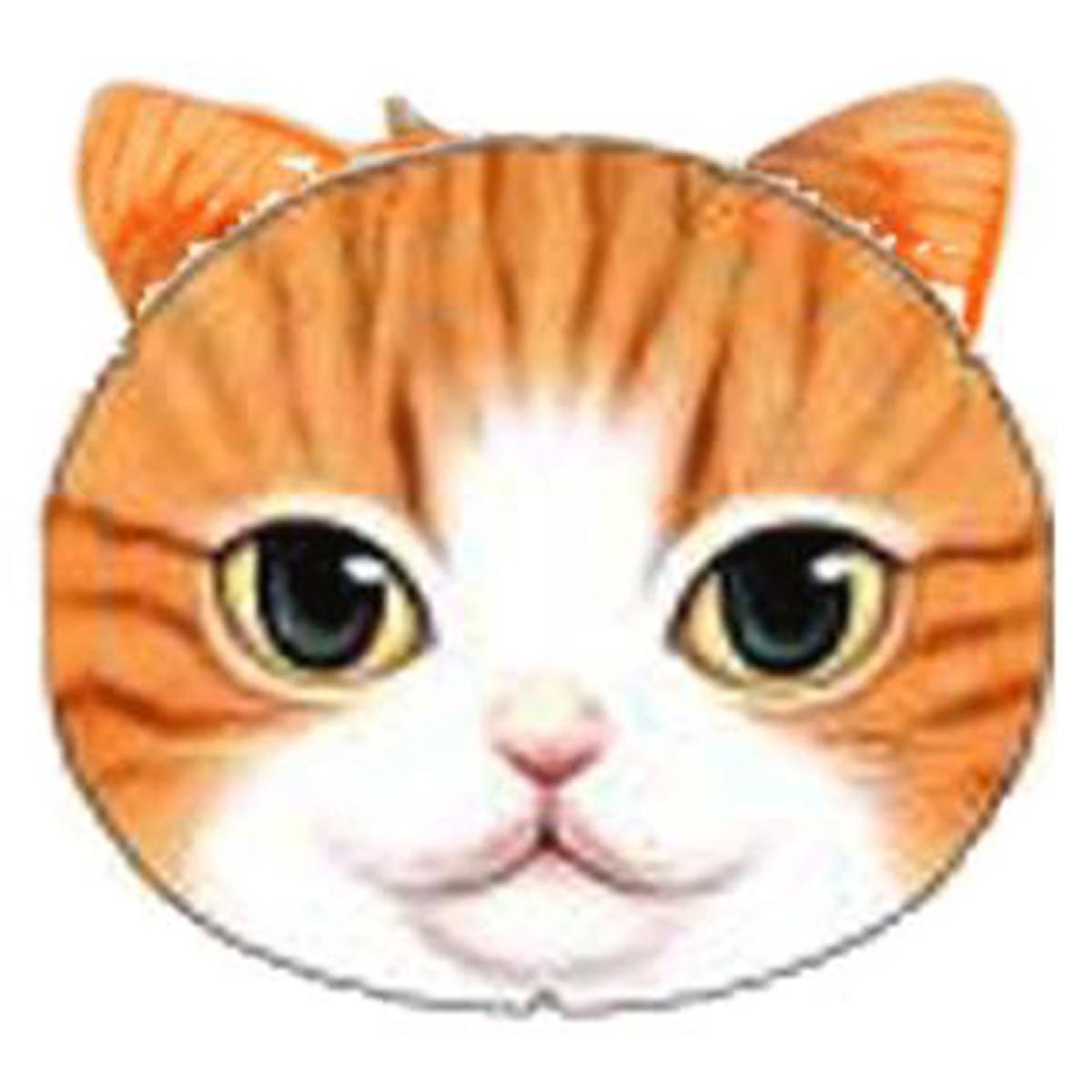 Porte-monnaie \'Chats\' orange beige - 12x10 cm - [Q4145]