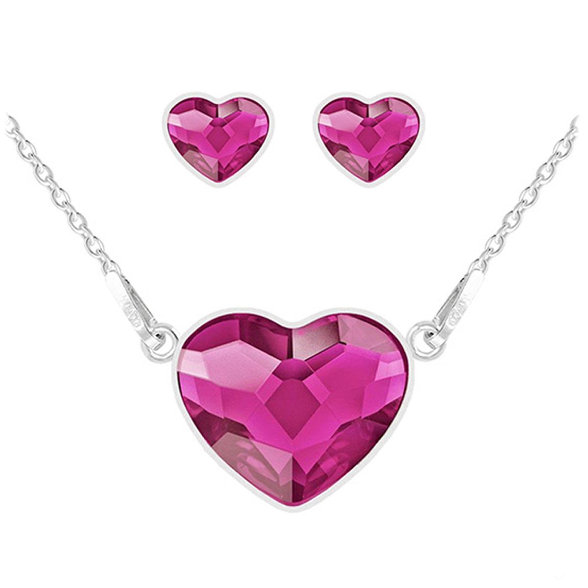 Parure argent artisanales \'Love\' rose fuschia argenté (collier et boucles) - 15x13 mm - [Q4277]