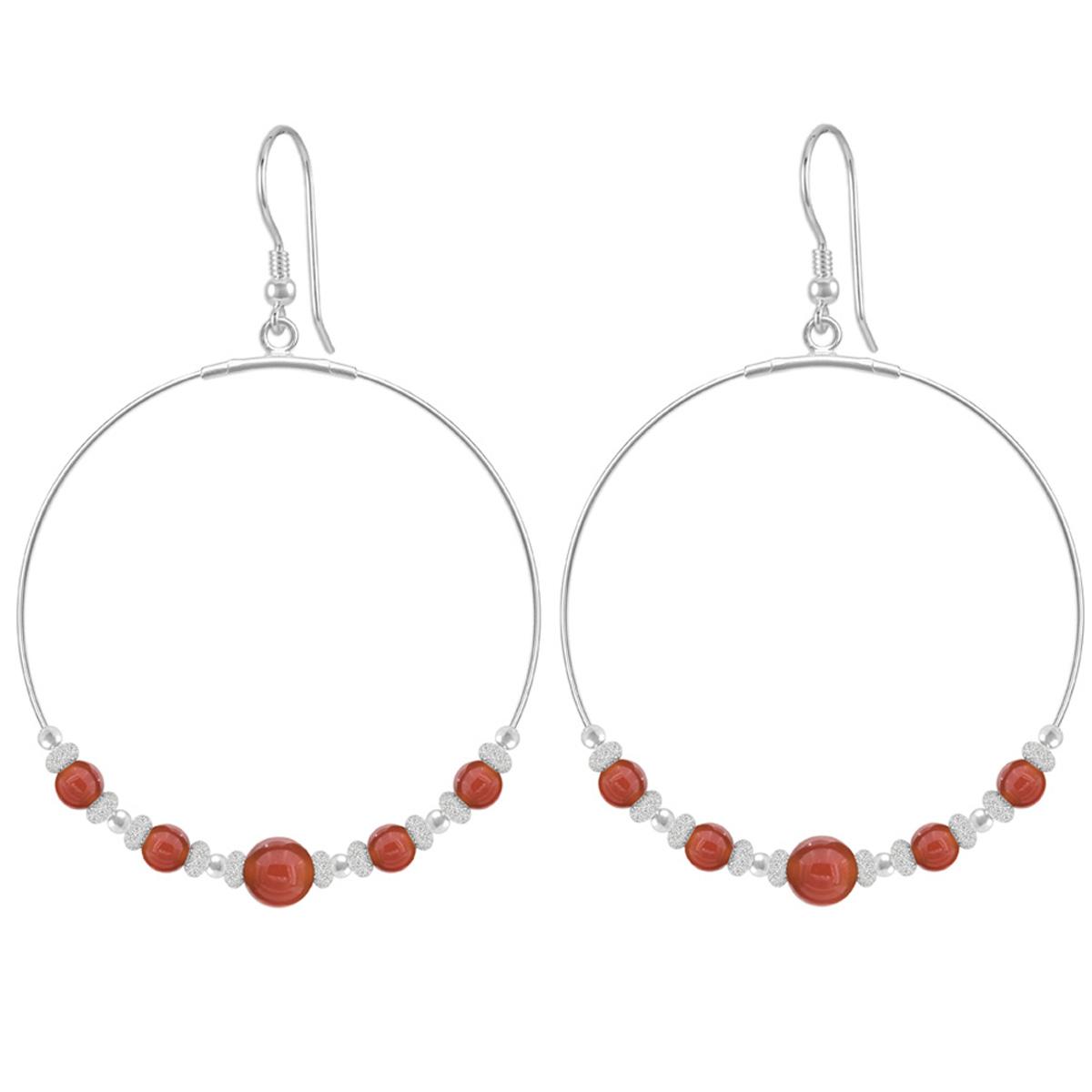 Boucles d\'oreilles argent artisanales \'Mineralia\' agate rouge argenté - 50 mm 6x6 mm - [Q4304]