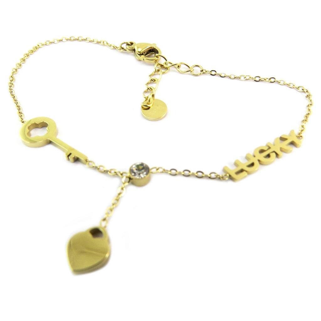 Bracelet créateur Acier \'Love\' doré (lucky) - coeur 6 mm et clé 15x6 mm - [P7954]