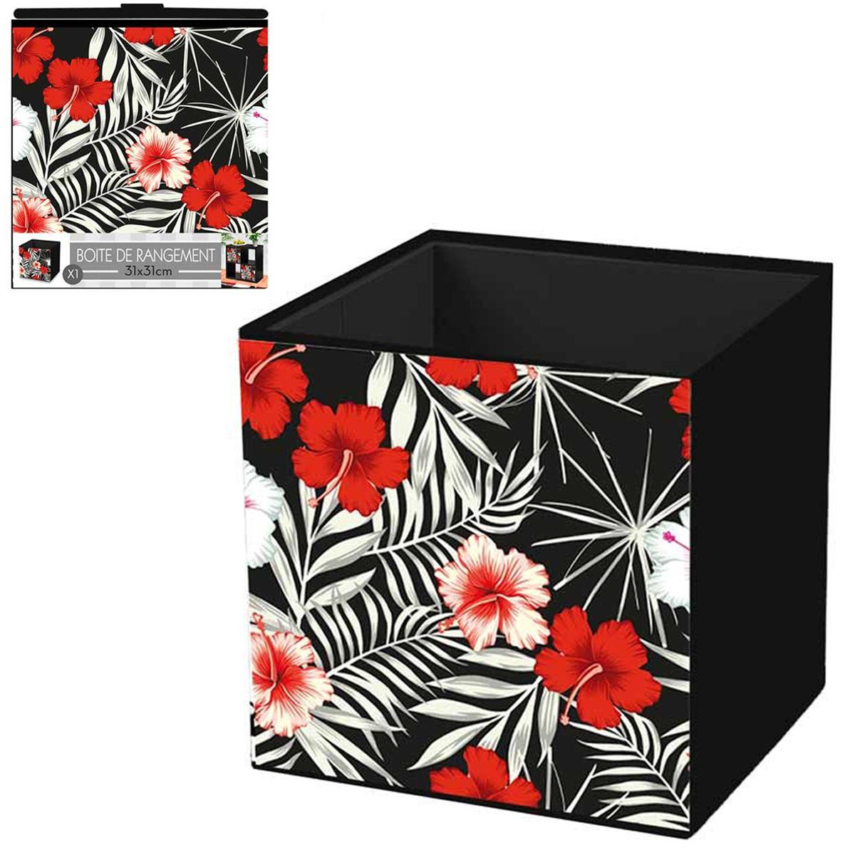 Cube de rangement \'Hibiscus\' rouge noir - 31x31 cm - [Q4338]