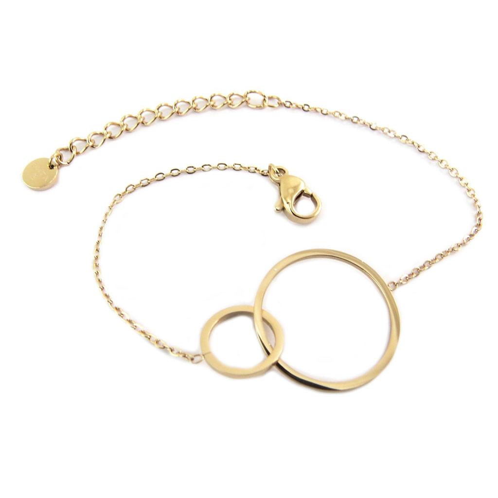 Bracelet créateur Acier \'Chorégraphie\' doré rosé (cercles, ronds) - 25x18 mm - [P7959]