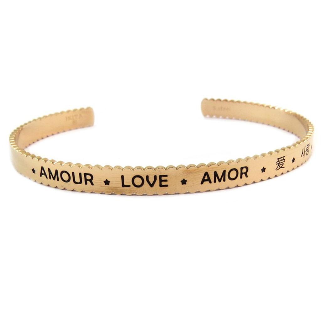 Bracelet créateur Acier \'Messages\' doré rosé (Amour Love Amor ) - 65 mm 5 mm - [P7975]