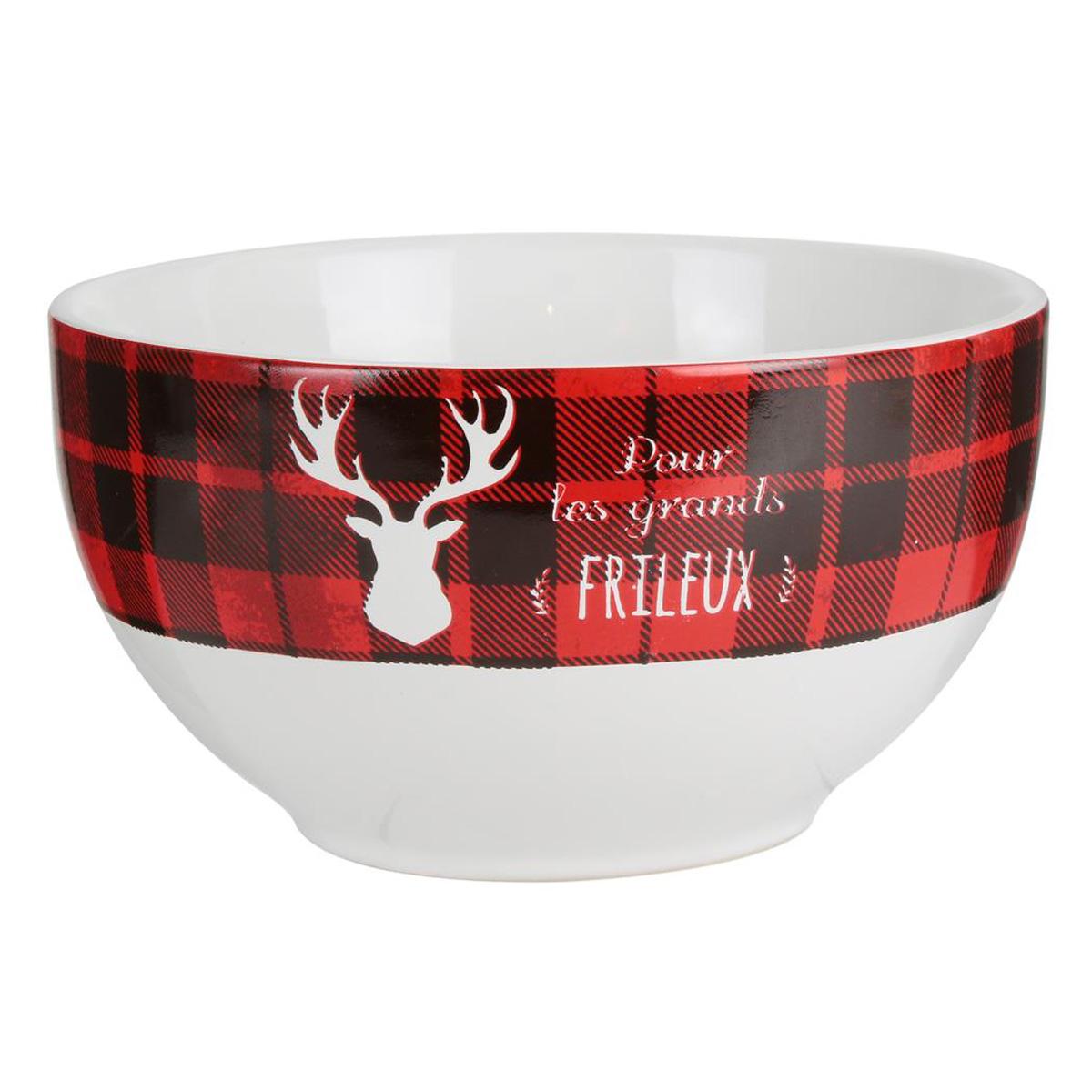 Bol céramique \'Tartan Ecossais\' rouge blanc (rennes - pour les grands Frileux) - 7x14 cm (40 cl) - [Q4373]