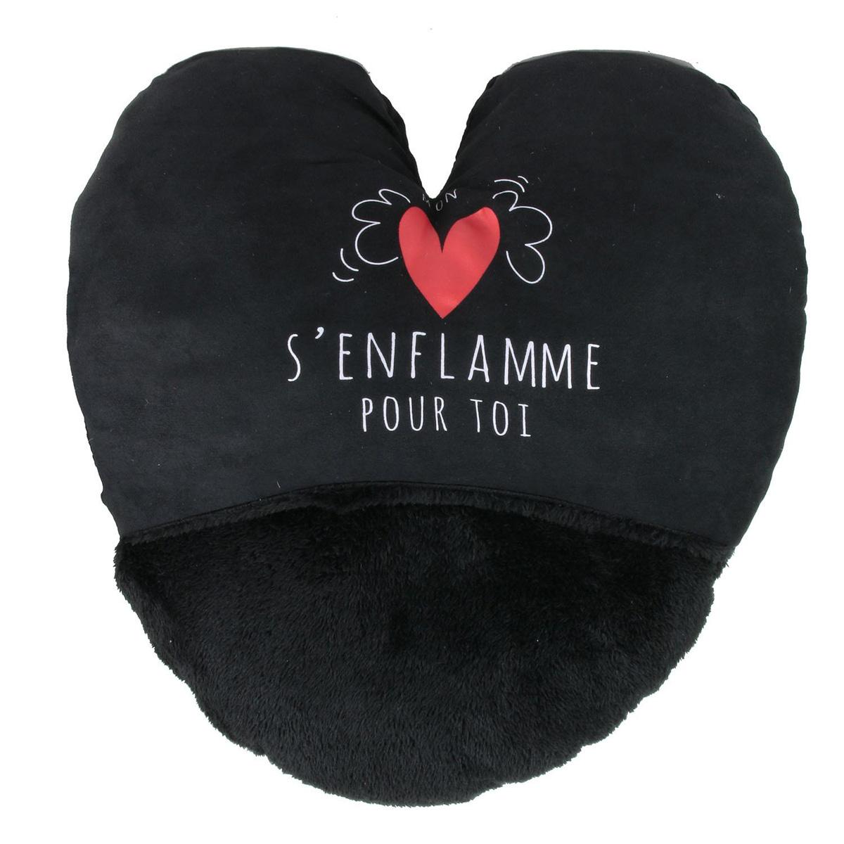 Géant chausson duo \'Love\' noir (mon coeur s\'enflamme pour toi) - 40x37 cm - [Q4374]