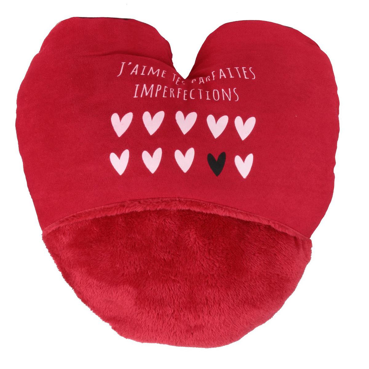 Géant chausson duo \'Love\' rouge (j\'aime tes parfaites imperfections) - 40x37 cm - [Q4375]