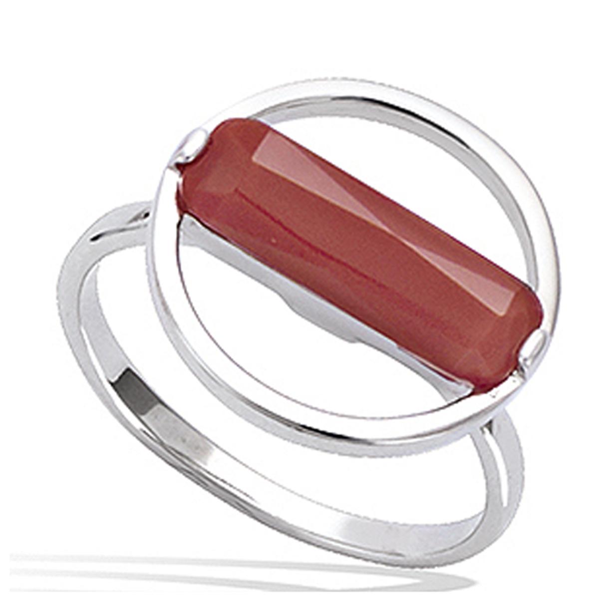 Bague Argent \'Boho\' rouge argenté (rhodié) - 16 mm - [P7993]