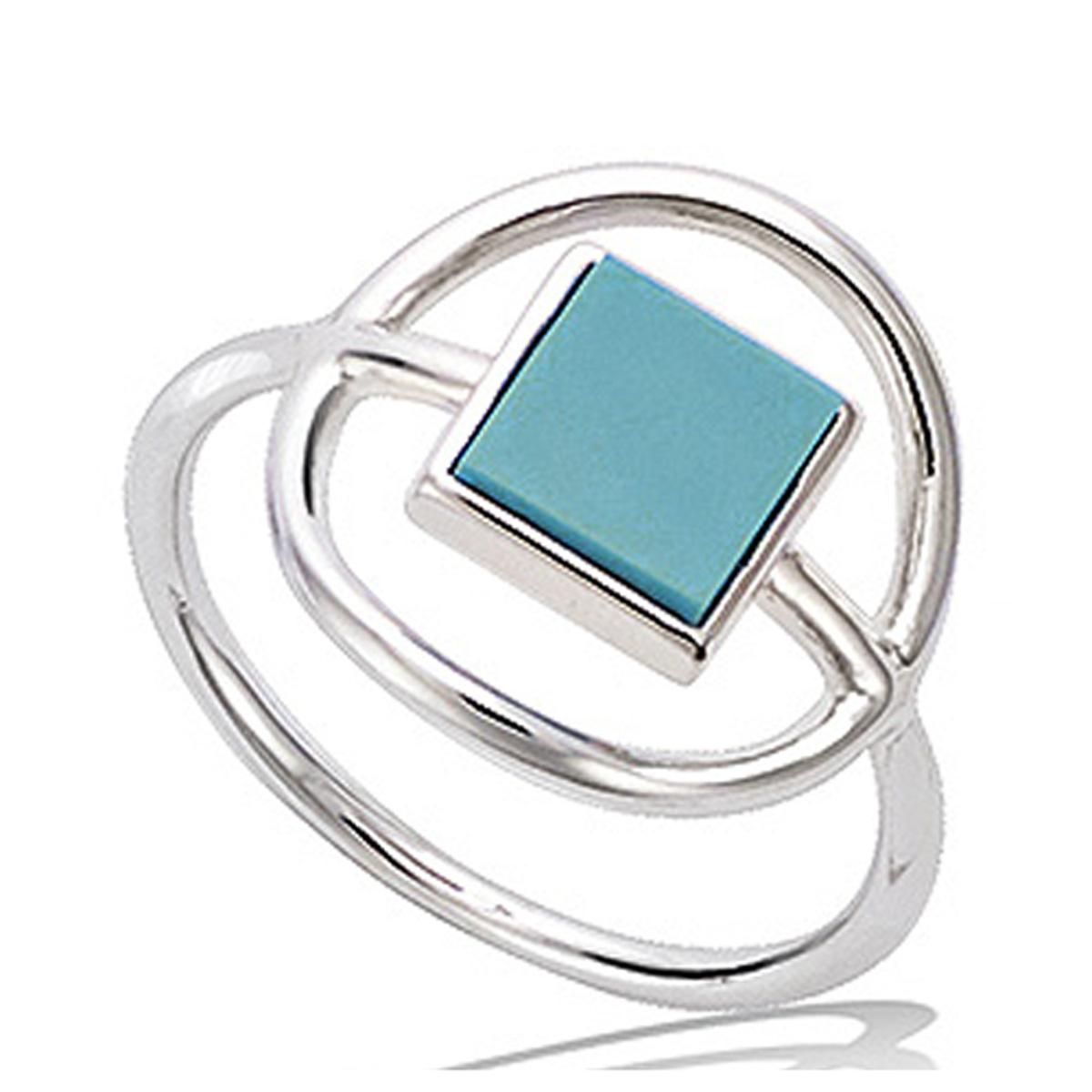 Bague Argent \'Boho\' turquoise argenté (rhodié) - 14 mm - [P7994]