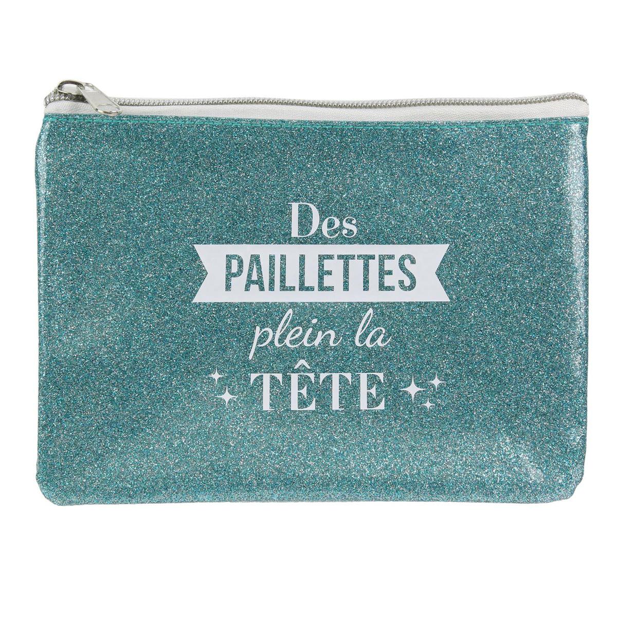 Pochette plate \'Messages Paillettes\' turquoise (des paillettes plein la tête) - 19x128 cm - [Q4387]