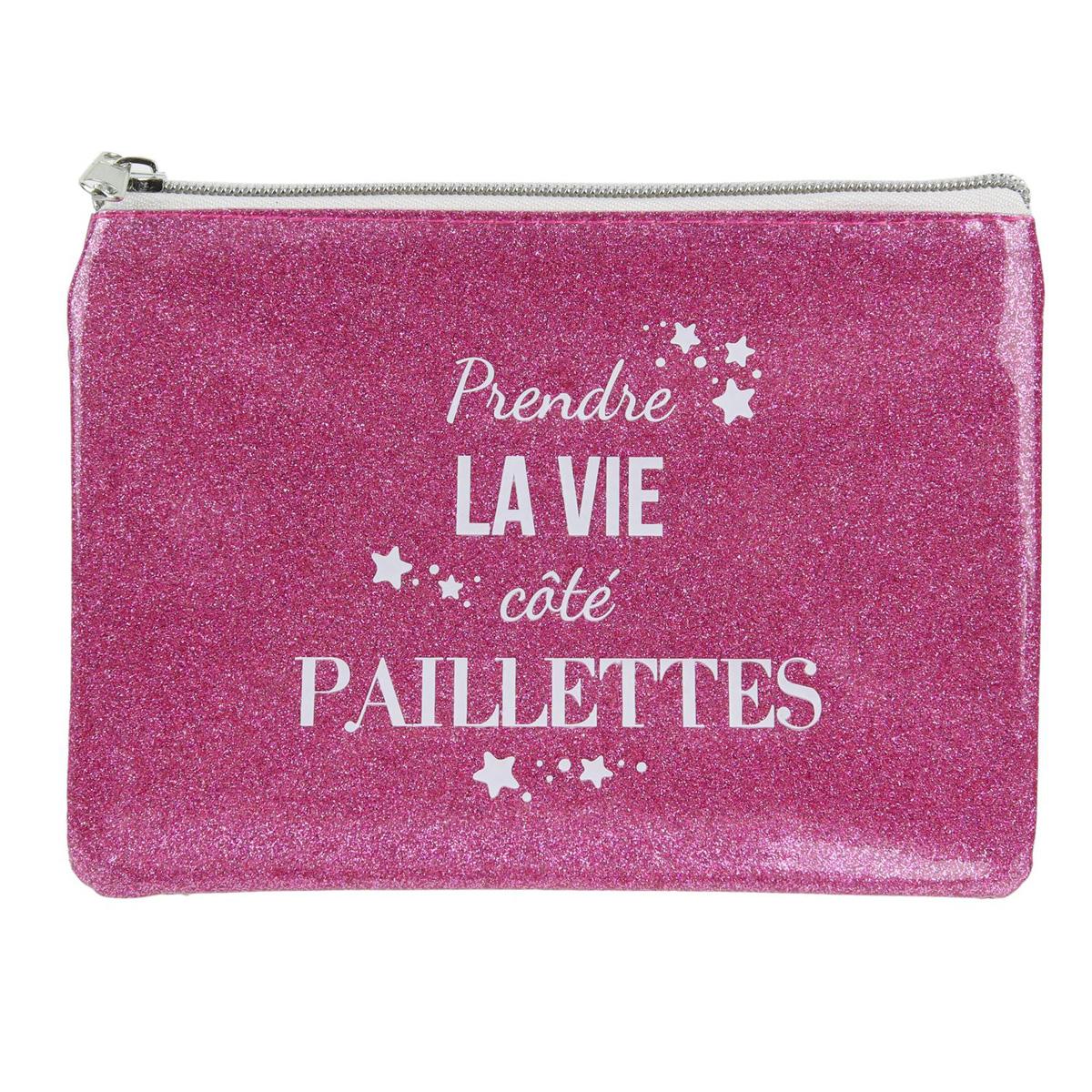 Pochette plate \'Messages Paillettes\' rose (prendre la vie côté paillettes) - 19x128 cm - [Q4388]