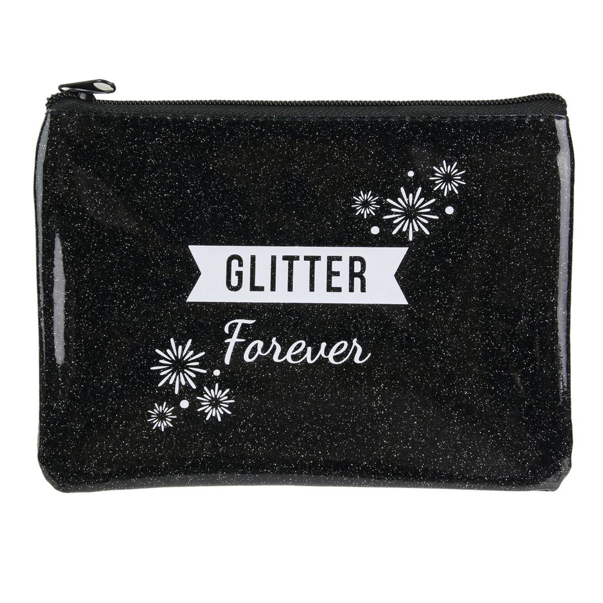 Pochette plate \'Messages Paillettes\' noir (glitter forever) - 19x128 cm - [Q4390]