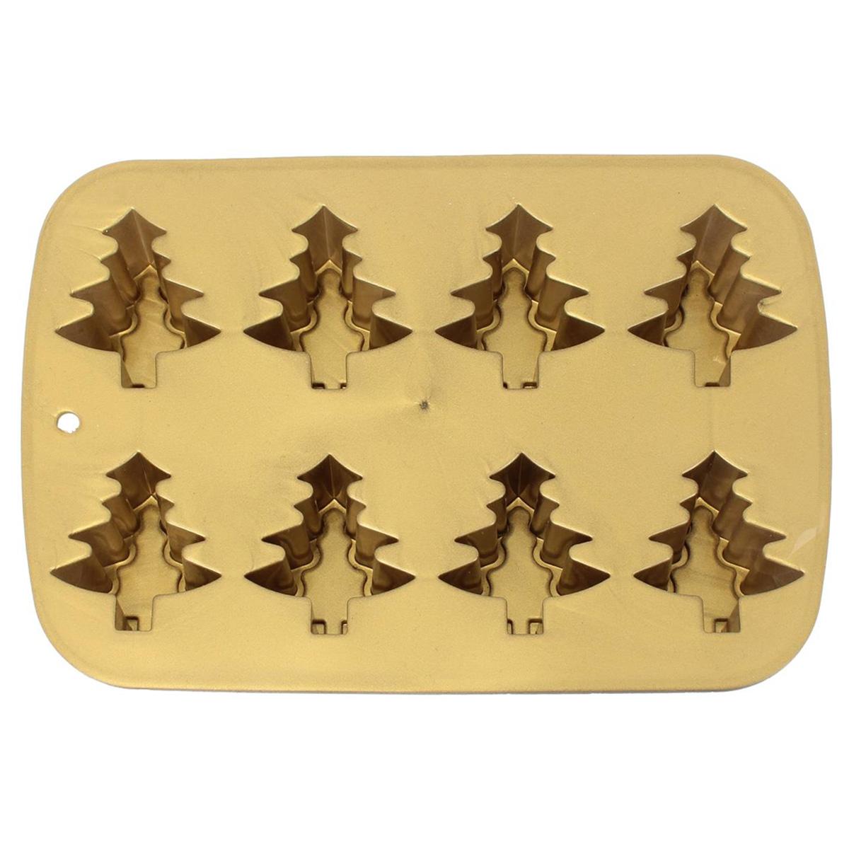 Moule silicone \'Sapins\' doré - 26x17x3 cm (8 sapins) - [Q4397]