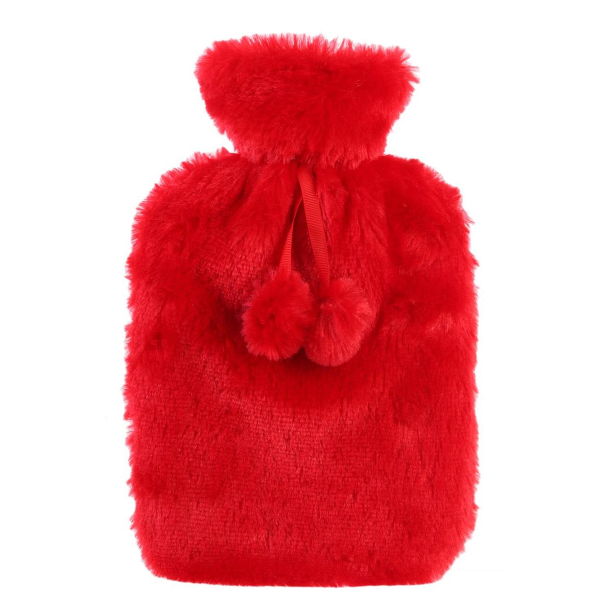 Bouillotte fourrure \'Scarlett\' rouge - 345x21x45 cm (2L) - [Q4398]