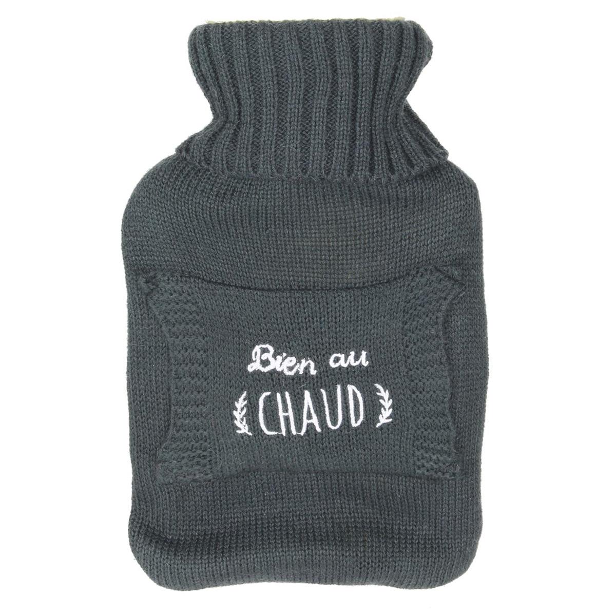 Bouillotte créateur \'Tricot\' gris (Bien au chaud) - 26x165x45 (1L) - [Q4401]