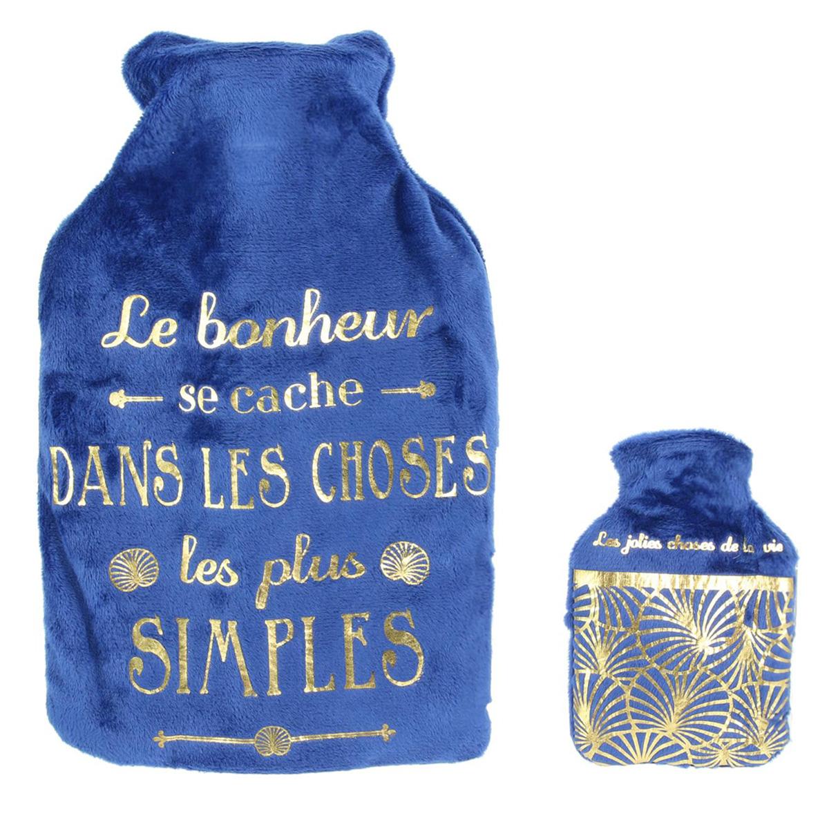 Bouillotte & chaufferette velours \'Messages\' bleu (le bonheur se cache dans les choses les plus simples) - 26x165x45 (1L) - [Q4405]