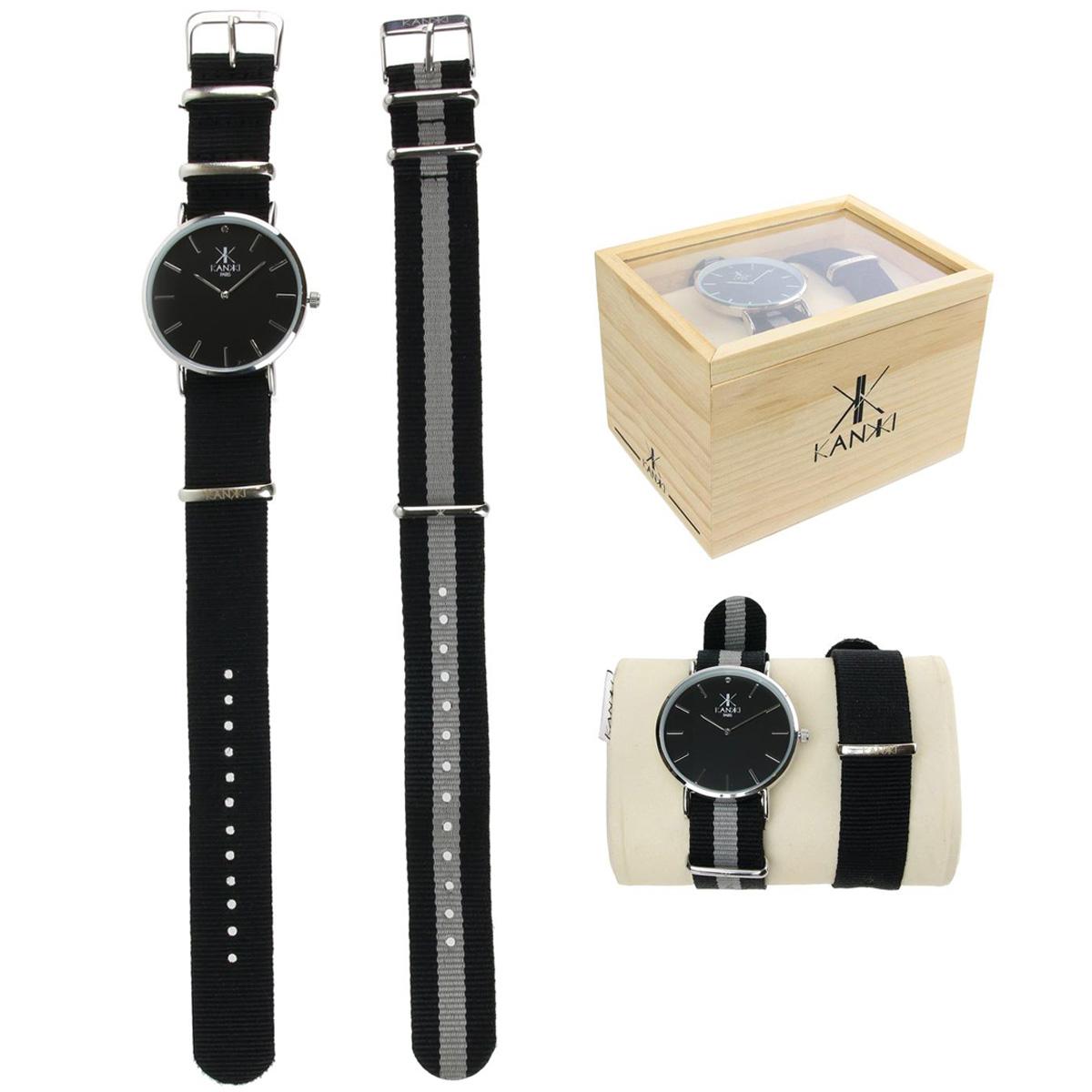 Coffret montre \'Cameleon\' gris noir argenté (2 bracelets) - [Q4416]