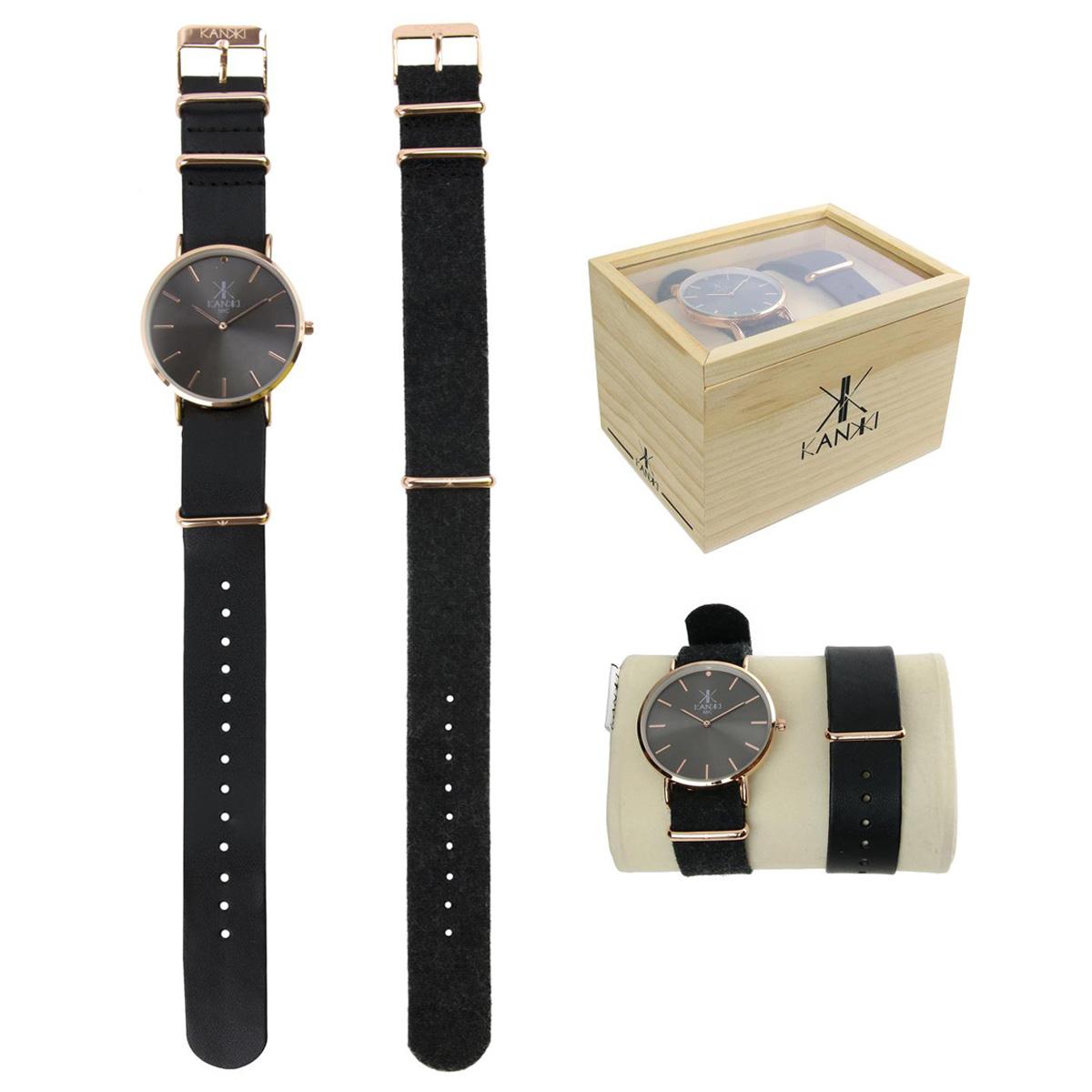 Coffret montre \'Cameleon\' noir rosé (2 bracelets) - [Q4417]