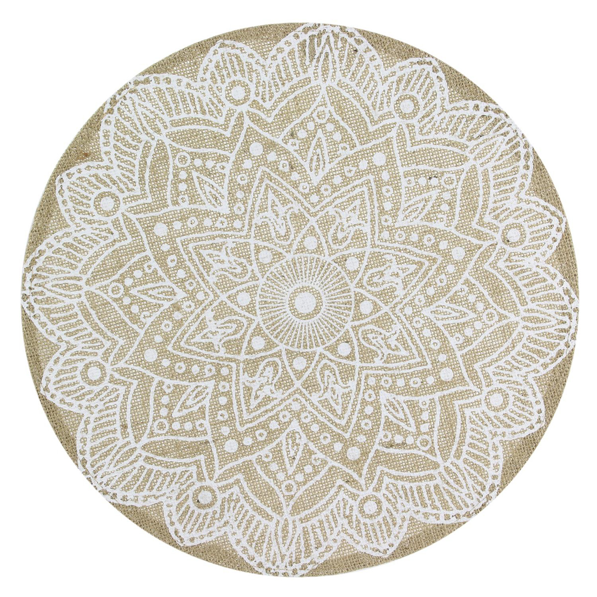 Set de table lin \'Boho\' beige (mandala) - 38 cm - [Q4424]