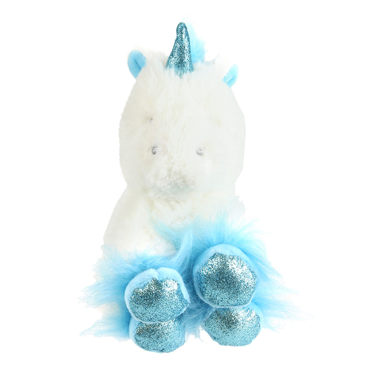 Peluche design \'Licorne My Unicorn\' bleu blanc - 15 cm - [Q4439]