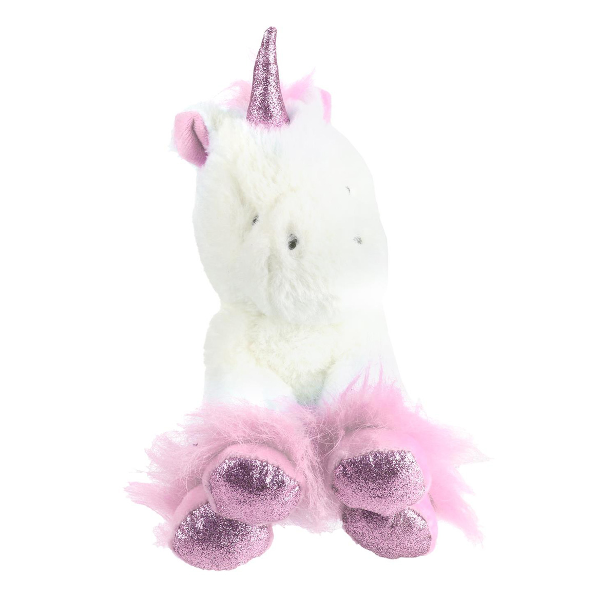 Peluche design \'Licorne My Unicorn\' rose blanc - 20 cm - [Q4440]