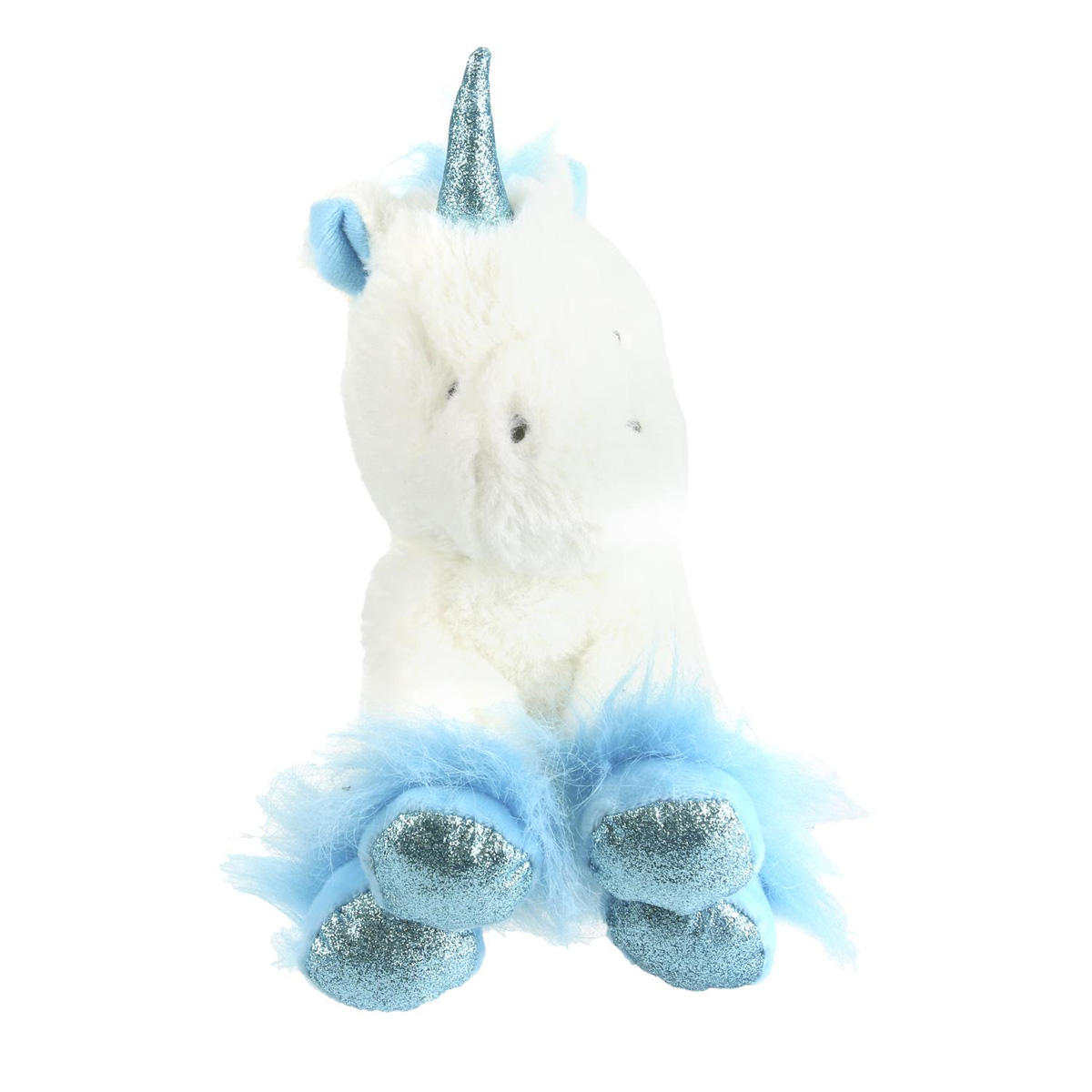 Peluche design \'Licorne My Unicorn\' bleu blanc - 20 cm - [Q4441]