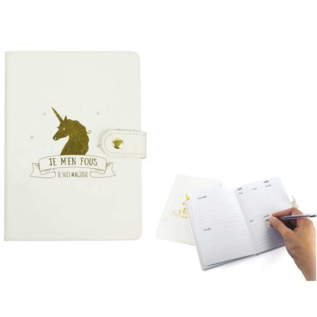 Agenda perpétuel \'Licorne My Unicorn\' blanc doré (je m\'en fous je suis magique) - 175x125 cm - [Q4452]