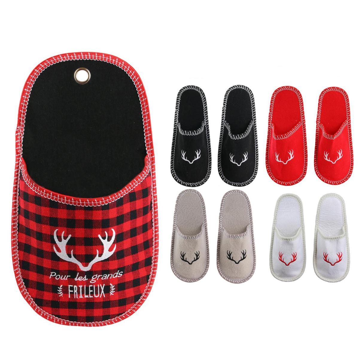 Porte-chausson garnie \'Tartan Ecossais\' rouge (pour les grands Frileux) - 465x26 cm (4 paires) - [Q4463]