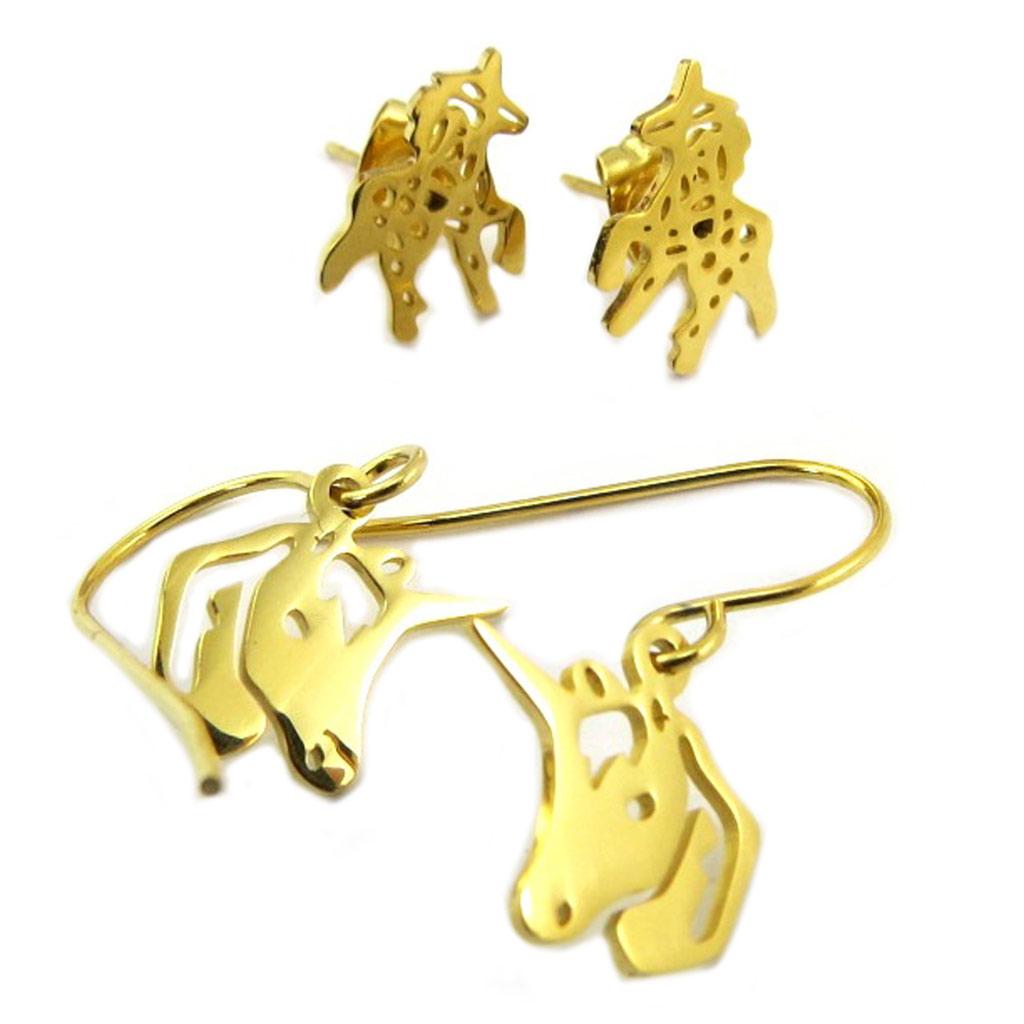 2 paires de boucles Acier \'Licorne My Unicorn\' doré - 10x10 mm et 11x10 mm - [P8072]