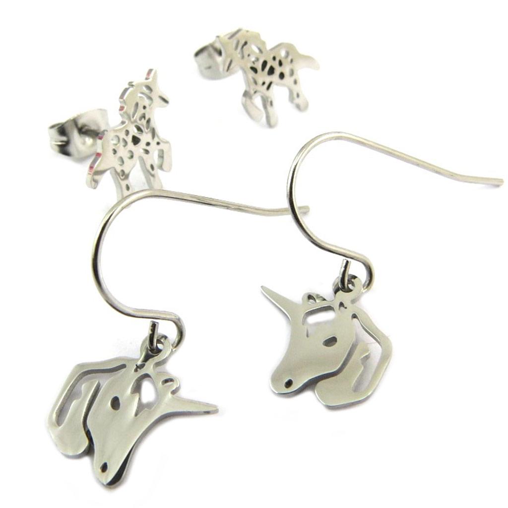 2 paires de boucles Acier \'Licorne My Unicorn\' argenté - 10x10 mm et 11x10 mm - [P8073]