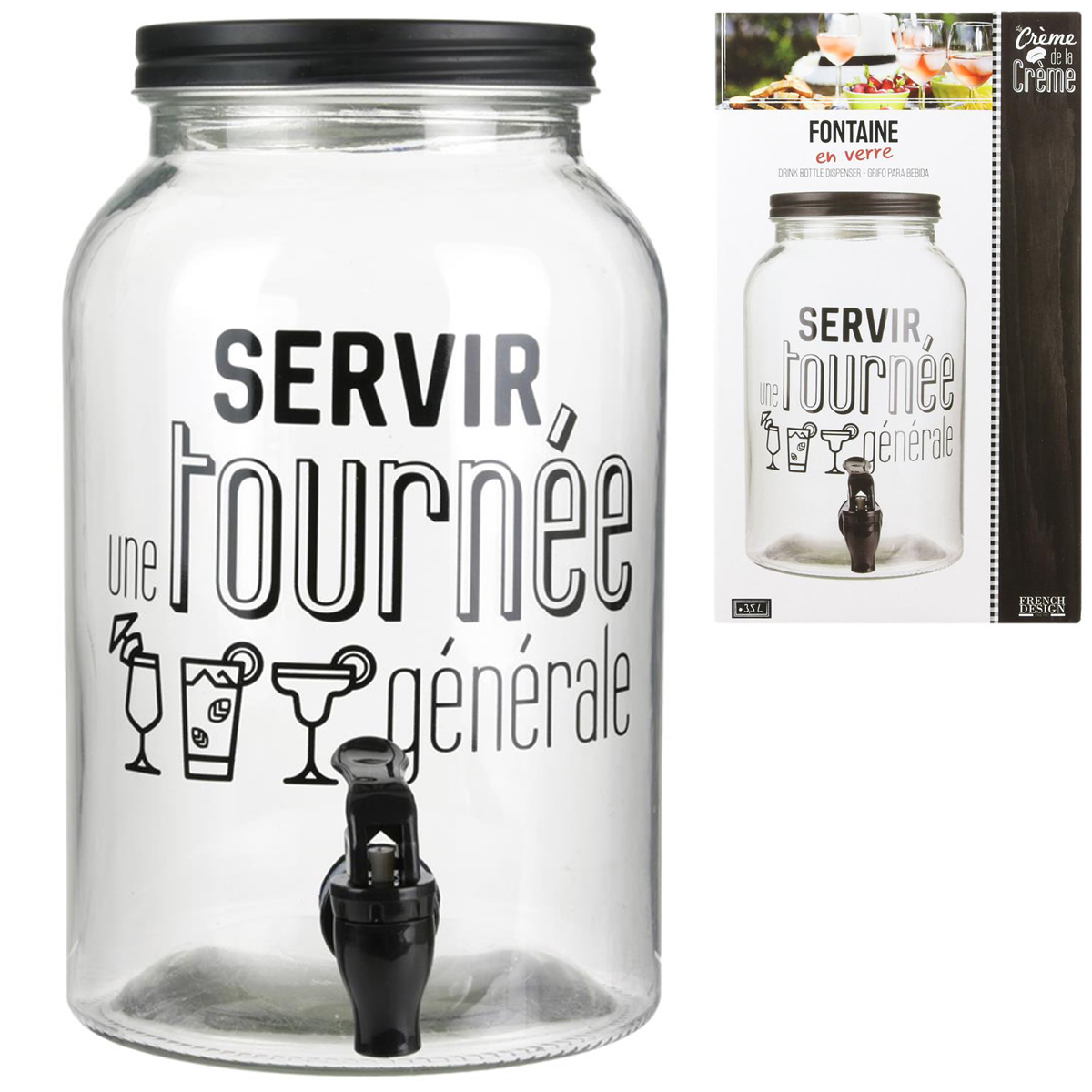 Fontaine mason jar verre \'Messages\' (servir une tournée générale) - 26x16 cm (35 L) - [Q4474]