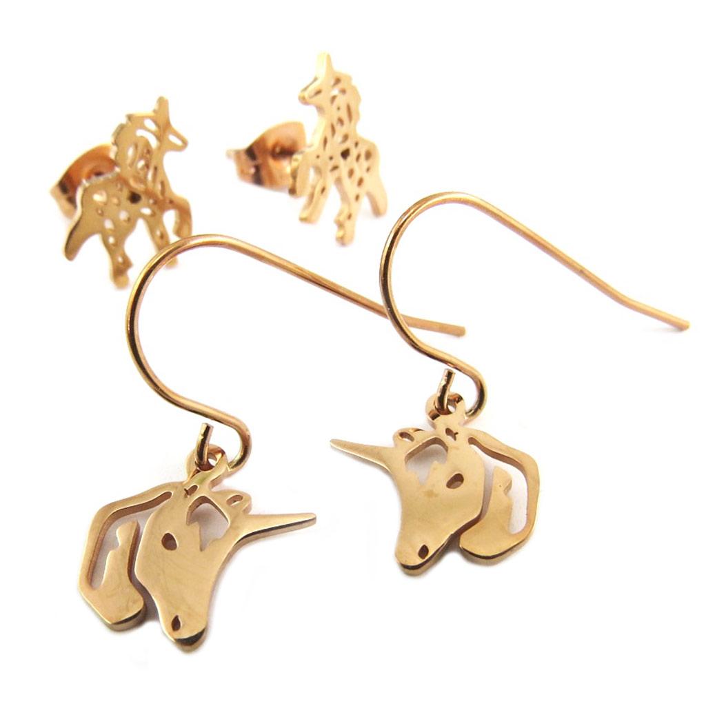 2 paires de boucles Acier \'Licorne My Unicorn\' doré rosé - 10x10 mm et 11x10 mm - [P8074]