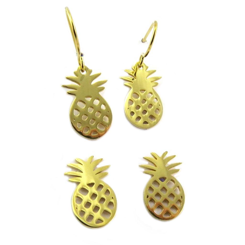 2 paires de boucles Acier \'Ananas\' doré - 13x8 mm - [P8076]
