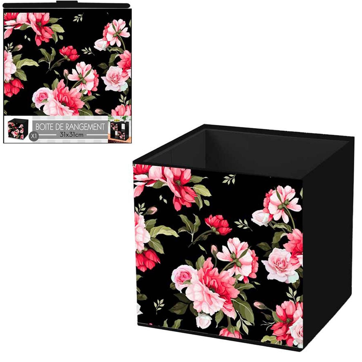 Cube de rangement \'Roses\' rose noir - 31x31 cm - [Q4495]