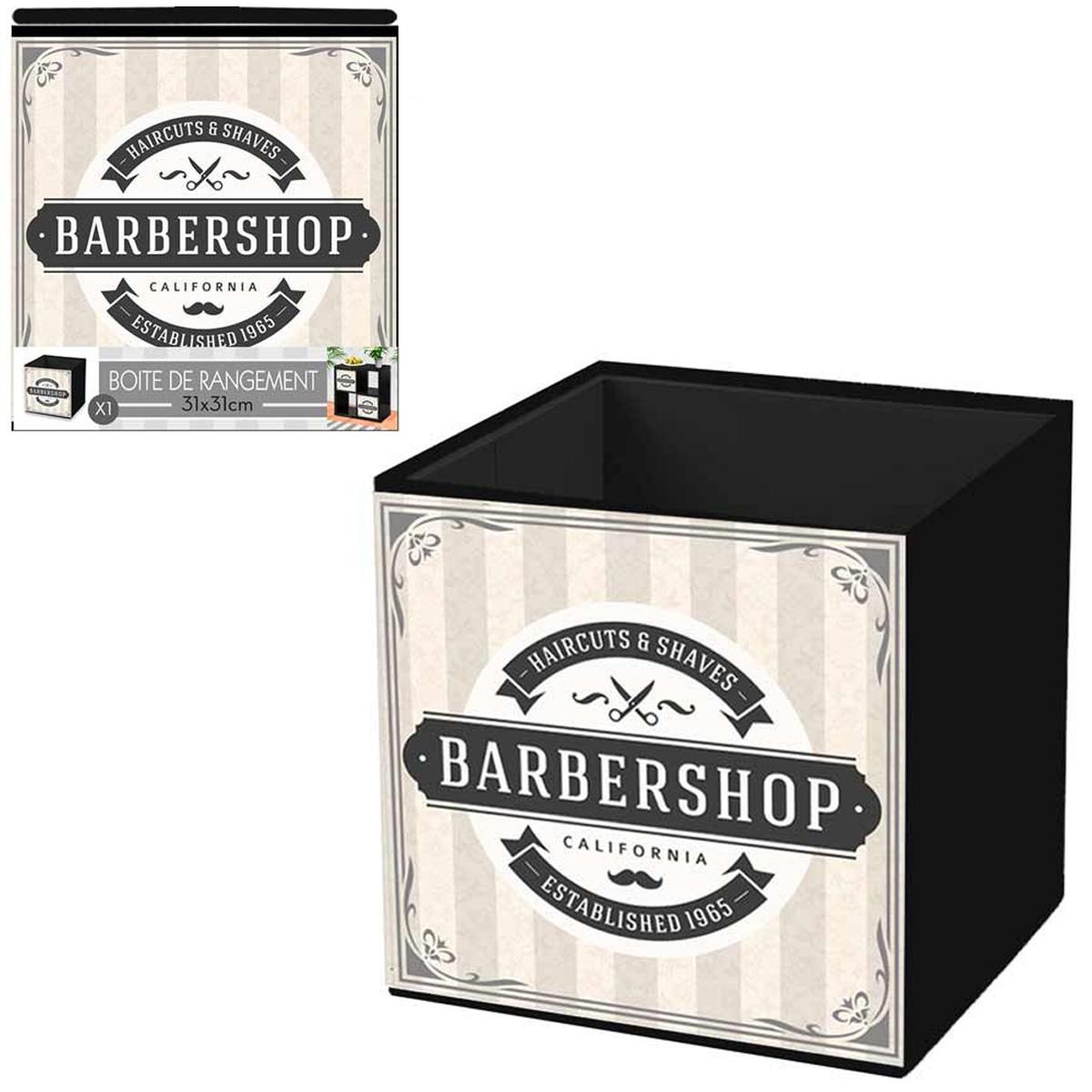 Cube de rangement \'Barbershop\' beige gris - 31x31 cm - [Q4496]