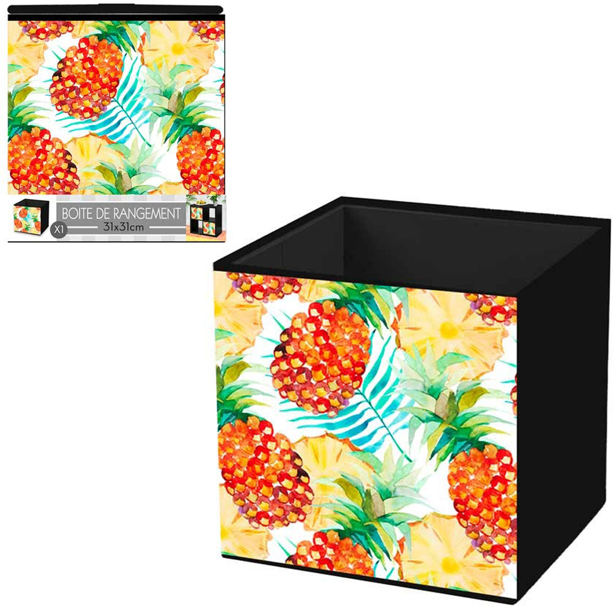 Cube de rangement \'Ananas\' orange vert - 31x31 cm - [Q4497]