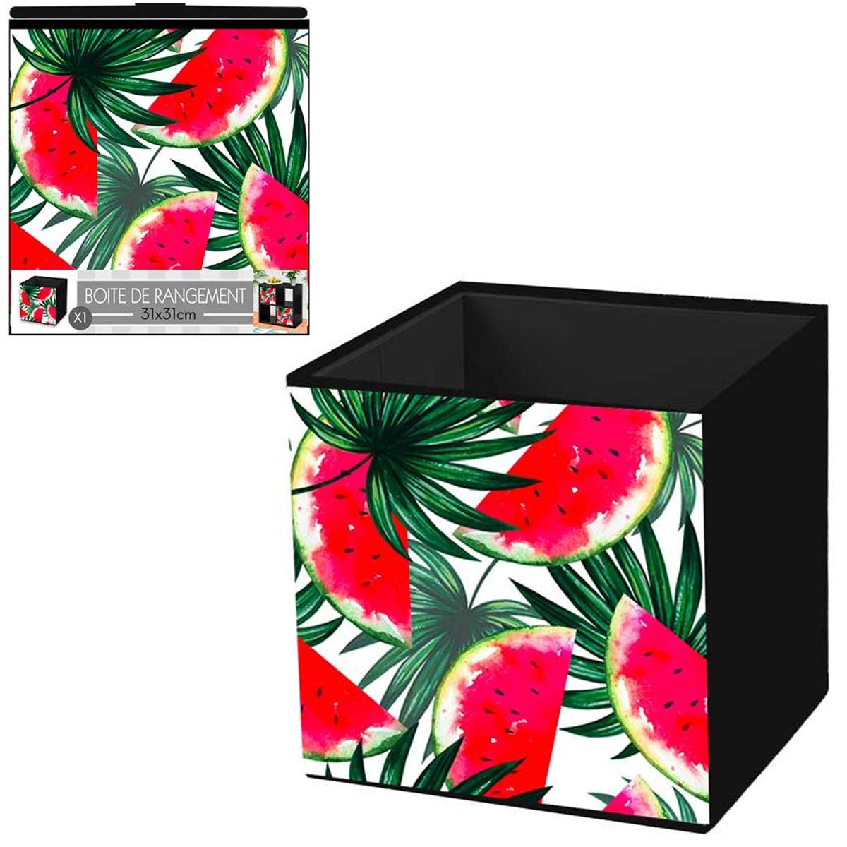 Cube de rangement \'Pastèque\' rouge vert - 31x31 cm - [Q4498]
