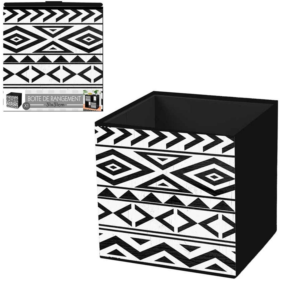 Cube de rangement \'Boho\' noir blanc - 31x31 cm - [Q4502]