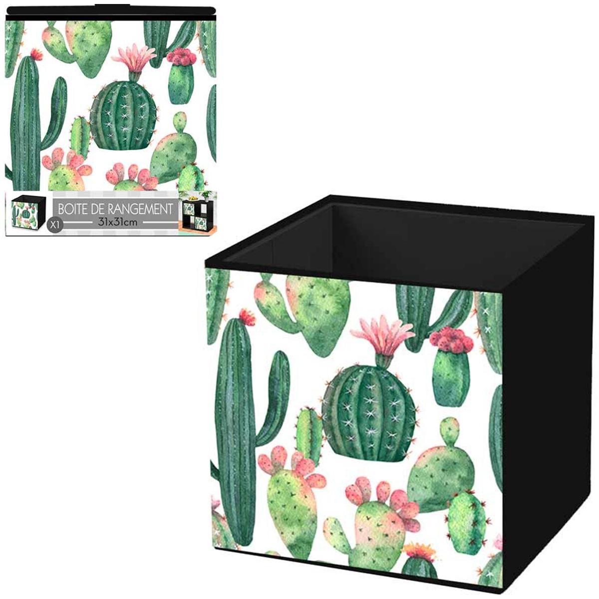 Cube de rangement \'Cactus\' vert rose - 31x31 cm - [Q4503]