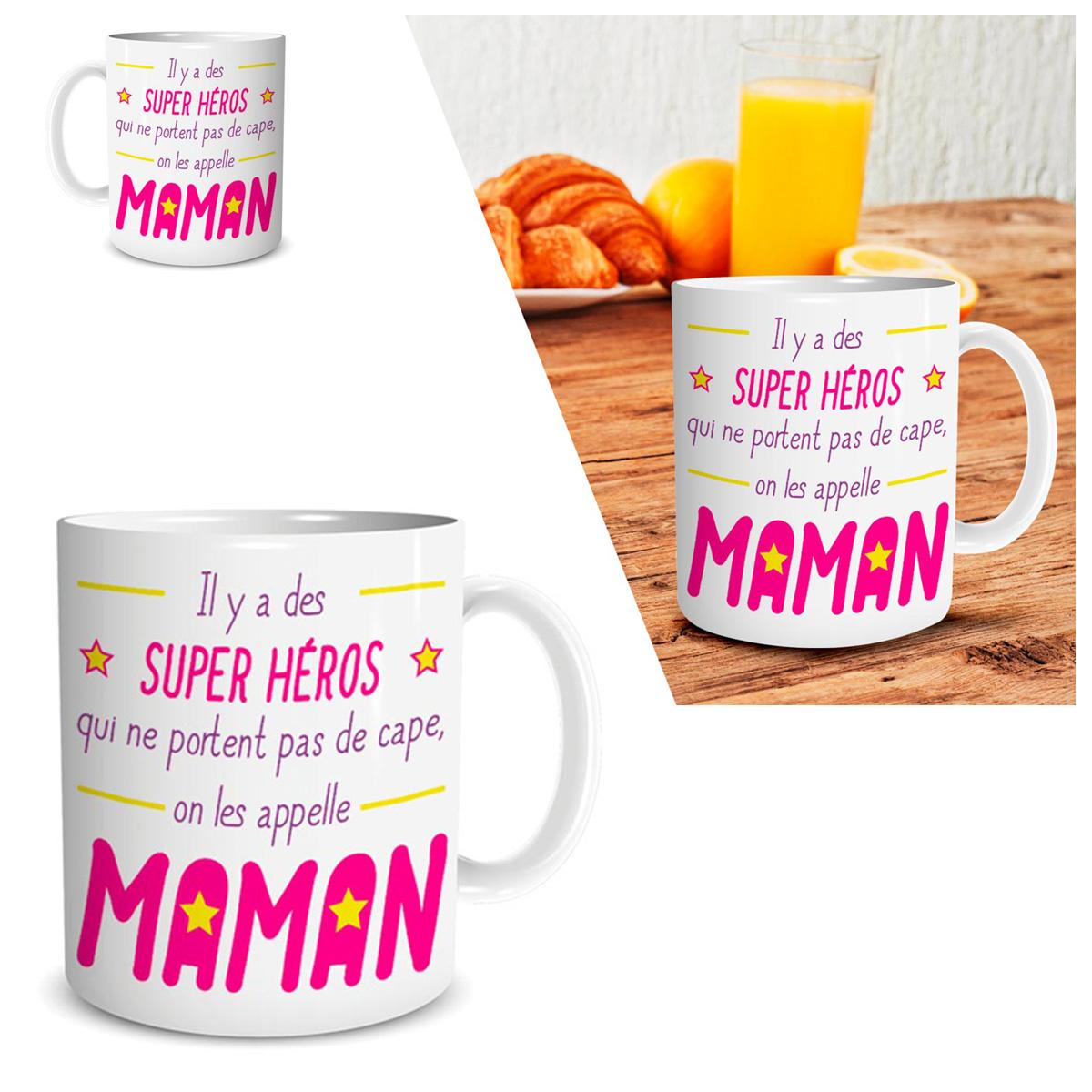 Mug tendresse \'Maman\' (Il y a des Super Héros que ne portent pas de cape, on les appelle Maman) blanc rose - 95x8 cm - [Q4505]