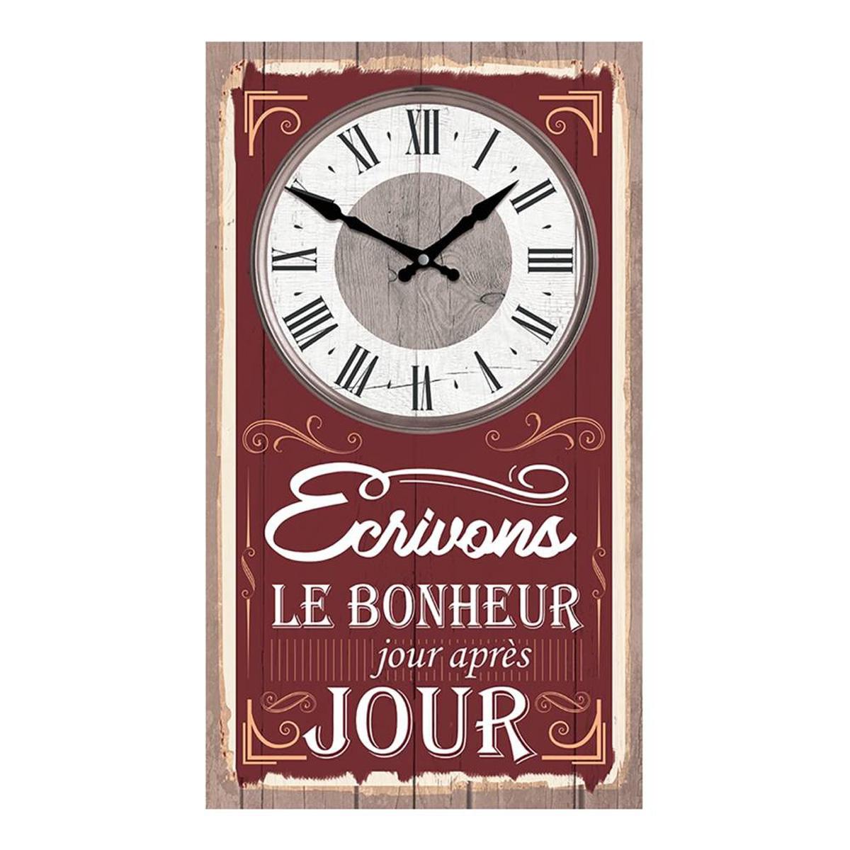 Horloge Murale \'Messages\' bordeaux (Ecrivons le Bonheur jour après jour) - 49x28 cm - [Q4514]