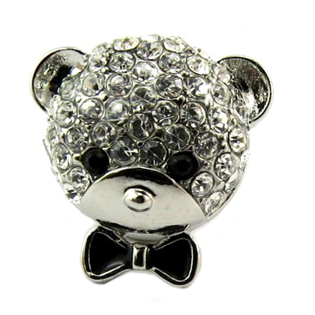 Broche pin\'s \'Teddy\' noir blanc argenté - 15x15 mm - [P8128]